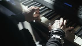 Synthesizer, hands pianist playing music stock footage