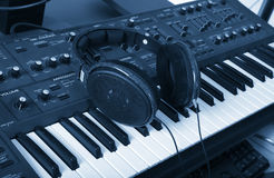 The synthesizer and headphones Stock Photo