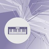 Synthesizer icon on purple abstract modern background. The lines in all directions. With room for your advertising. Stock Photo