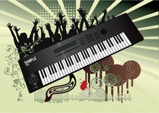 Synthesizer illustration. An abstract illustration with a synthesizer, floral decorations and people Stock Image