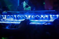 Synthesizer im blauen Rauche lizenzfreie stockfotos