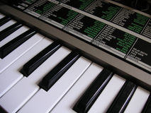 Synthesizer keyboard. Keyboard details of a synthesizer stock photography