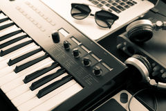 Synthesizer Keyboard on Computer music studio. Set up Stock Image