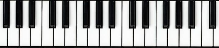 Synthesizer keyboard. Piano key. Synthesizer keyboard on isolated white background. Panoramic Piano key royalty free stock photos