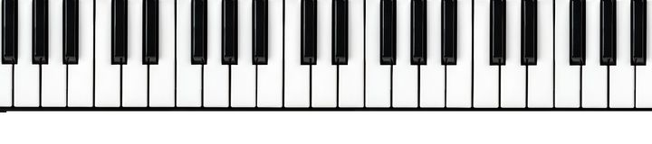 Synthesizer keyboard on isolated white background. With empty space for text. Panoramic stock image