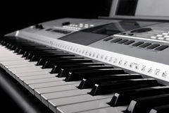 Synthesizer keyboard with knobs and controllers Stock Photography