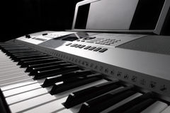 Synthesizer keyboard with knobs and controllers Royalty Free Stock Images