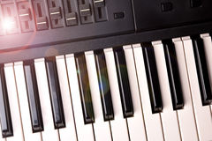 Synthesizer keyboard with shine top view Royalty Free Stock Photo
