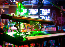 Synthesizer in lighting. Synthesizer in moody coloured lighting royalty free stock image