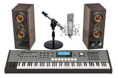 Synthesizer, loudspeakers and microphone. 3D rendering. Synthesizer, loudspeakers and microphone. 3D stock illustration