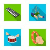 Synthesizer melodies, bagpipes Scotch and other web icon in flat style. drum, drum roll, tambourine in hand icons in set Stock Photography