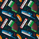 Synthesizer piano musical keyboard equipment seamless pattern vector illustration. Royalty Free Stock Photo