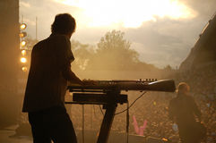 Synthesizer player. At a live outdoor concert Stock Image
