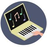 Synthesizer und Laptop kombinierten, Symbol eines Musikerfreiberuflers lizenzfreie abbildung