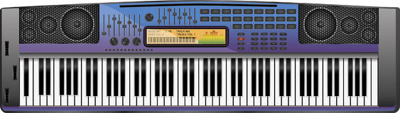 Synthesizer violet-blue. Modern sprinkler shop for musical instruments or related sites Royalty Free Stock Photo