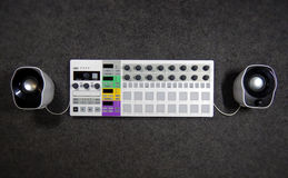 Synthesizer with white speakers Royalty Free Stock Image