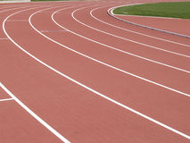 Synthetic athletics track -red Royalty Free Stock Image