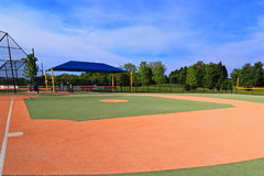 Synthetic Baseball Field. View from first base, designed for handicaps or special needs stock photography