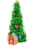 Synthetic Christmas tree with colored balls on branches. Christmas tree with decorations isolated on white background, green and bright Stock Image
