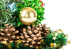 Synthetic Christmas tree with colored balls on branches and fir Royalty Free Stock Photography