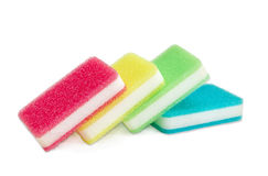 Synthetic cleaning sponges different colors on a light backgroun Stock Photo