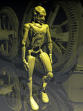 Synthetic future. Metallic creation, robot or android, walking close to mechanical installations Stock Photography