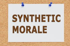 Synthetic Moral concept. 3D illustration of SYNTHETIC MORALE on cork board Royalty Free Stock Photo