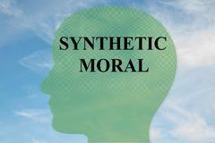 SYNTHETIC MORAL concept. Render illustration of SYNTHETIC MORAL title on head silhouette, with cloudy sky as a background Stock Photos