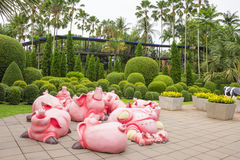 The synthetic pig as garden decoration in Nong Nooch tropical garden in Pattaya, Thailand Stock Images