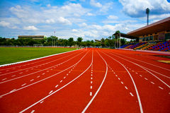 Synthetic running track. Stock Photo