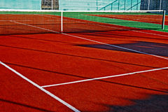 Synthetic sports field for tennis 7 Royalty Free Stock Image