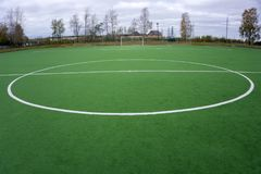 Synthetic sports grounds coating. White marking line details and background. Royalty Free Stock Photo