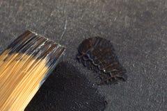 Synthetische Bürste mit schwarzer Farbennahaufnahme Lizenzfreies Stockbild
