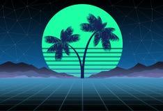 Synthwave和retrowave背景模板 棕榈、太阳和空间在电脑游戏 减速火箭的设计,吹捧音乐,80s 皇族释放例证