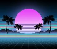 Synthwave和retrowave背景模板 棕榈、太阳和空间在电脑游戏 减速火箭的设计,吹捧音乐,80s 库存例证