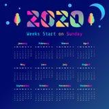 Synthwave 2020 år kalender Veckastart på söndag stock illustrationer