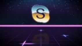 synthwave αναδρομικό εικονίδιο σχεδίου του skype απεικόνιση αποθεμάτων