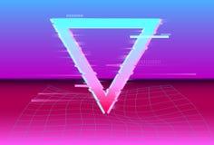 Synthwave futurystyczny geometryczny szczegół w stylu z Neonową laserową siatką Usterka skutek VHS retro Vaporwave r?wnie? zwr?ci royalty ilustracja