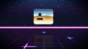 Synthwave retro design icon of address card. Synthwave vector illustration