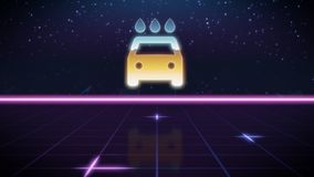 Synthwave retro design icon of car wash. Chrome icon of car and water drops on synth background stock illustration