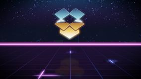 Synthwave retro design icon of dropbox. Chrome icon of dropbox on synth background stock illustration