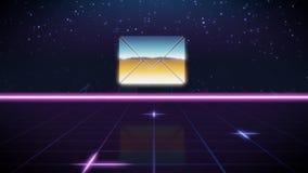 synthwave retro design icon of envelope royalty free illustration