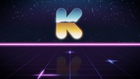 Synthwave retro design icon of kickstarter. Chrome icon of kickstarter logo on synth background royalty free illustration