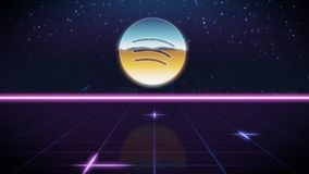 Synthwave retro design icon of spotify. Chrome icon of spotify logo on synth background vector illustration