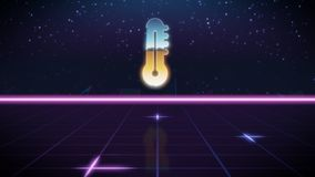 synthwave retro design icon of thermometer stock illustration