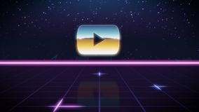 synthwave retro design icon of youtube royalty free illustration