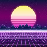 Synthwave retro design, mountains and sun, illustration Royalty Free Stock Image