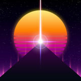 Synthwave retro design, pyramid, stråle och sol, illustration royaltyfri illustrationer