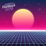 Synthwave retro design, sun, and grid, illustration Stock Images
