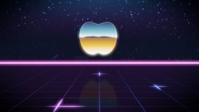 synthwave retro ontwerppictogram van app appel stock illustratie